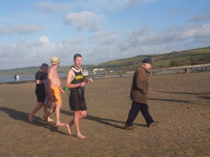 Coxswains Andy Morgan, Mike Hackfort and Mike Utting looking cold!